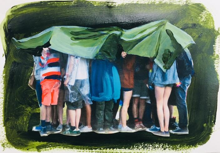 Wendy Tjalma schuilen onder een doek