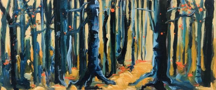 Blue forest (2020), 30x15 cm, olie en acryl op hout