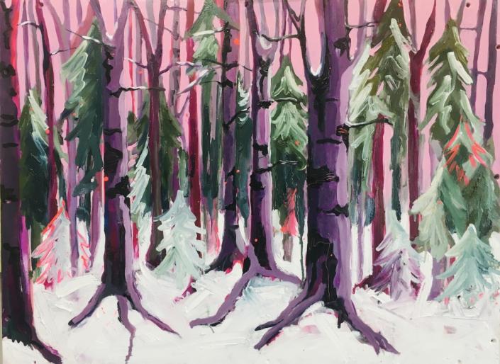 Winter (2020), 85x65 cm, olie en acryl op houten paneel